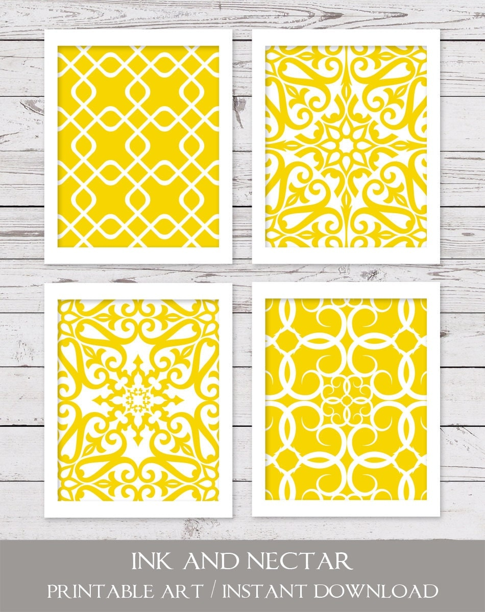 Yellow Art PRINTABLE Art Yellow Wall Art INSTANT DOWNLOAD