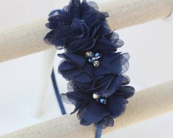 Navy blue headband, navy blue flower girl headband, navy blue bridesmaid flower, navy blue wedding headband, navy blue girls headbands