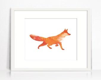 Fox print. Fox wall art. Fox poster. Watercolor fox printable. Orange fox decor. Digital fox poster download. Fox Silhouette. Printable art