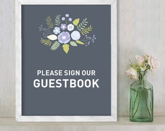 Sign Our Guestbook // Guest Book Sign //  Floral Wedding Sign DIY // Flower, Purple & Gray // Printable Poster ▷  Instant Download