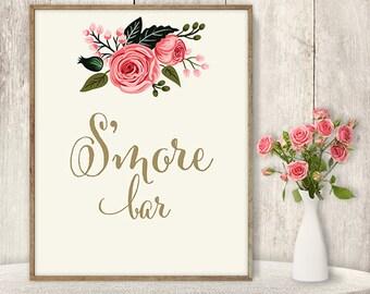 S'more Bar // Floral Wedding Dessert Sign DIY // Watercolor Rose Flower Poster Printable // Gold Calligraphy, Pink Rose ▷ Instant Download