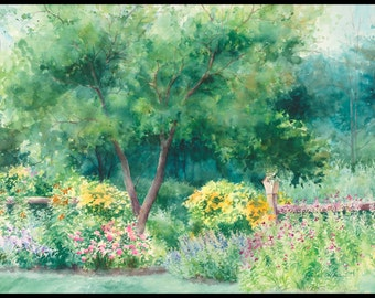 garden painting, green decor, garden wall art, flower painting, watercolor painting