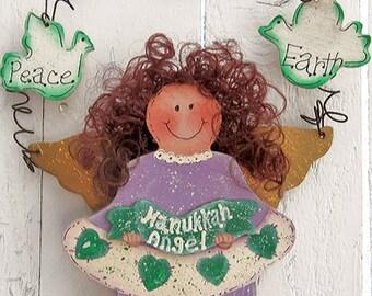 Hanukkah Angel Holiday Decor Decorative Painted Tole Painted Holiday Wood Hanukkah Decor Collectible Angel Chanukah Decoration Holiday Angel