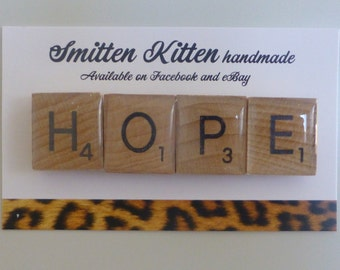 "Fridge magnets- handmade, strong. Scrabble tiles ""hope"". Pack of 4 by Smitten Kitten."