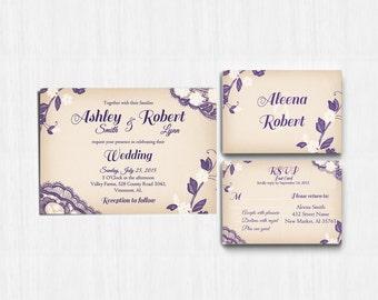 DIGITAL, Purple Lace Wedding Invitation, Lace wedding invite, Printable Digital file, Wedding Invitation, RSVP, Invitation, plum lace, ivory
