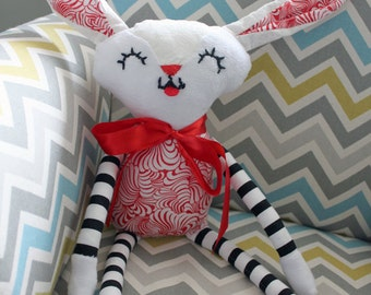 Custom Red and White Bunny - Baby/Children's Toy