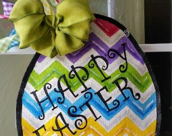 Easter Egg Chevron Burlap Door Hanger Decoration and Wreath Replacement Multi colored