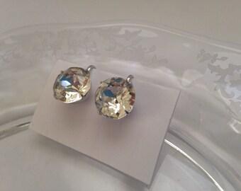 Vintage Coro Faux Diamond Earrings Screw Back Round Clear Rhinestones Silver tone Setting