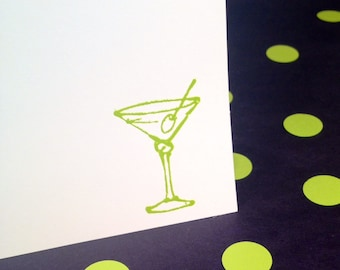 Martini Cocktail Note Cards and Envelopes - Green and White - Set of 8