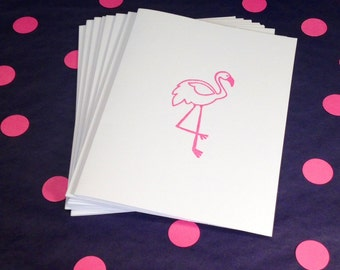 Flamingo Note Cards and Envelopes - Pink and White - Set of 8