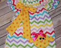 ON SALE!! Rainbow Chevron Dress w/ Accessories: Sizes- 2T, 5T, 6, 7- Baby / Little Girls Spring Dress.Clothing.Photo Prop.Bubblegum Necklace