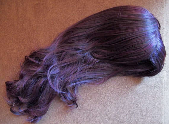 Deep Purple Long Hair Long Wavy Deep Purple Wig w/