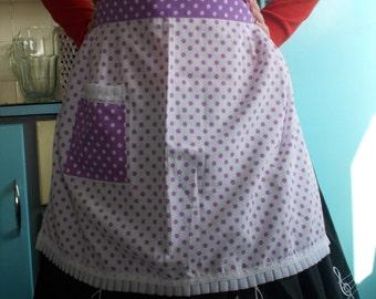 Vintage Margaret Booker purple polka dot half apron