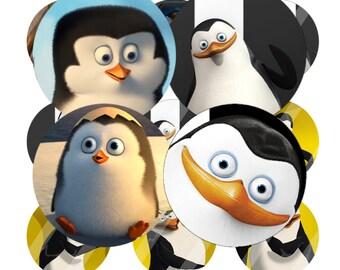 INSTANT DOWNLOAD - Penguins of Madagascar - Bottlecap Images Digital Collage Sheet - One Inch - 4x6 Bottle Caps