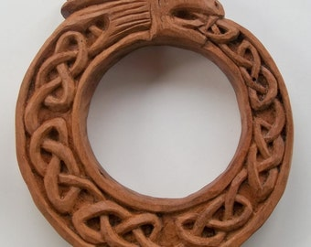Ouroboros Wood carving, Handmade Woodcarving, 6,8 x 1,4 in