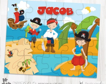 SALE Pirate personalized puzzle, 20 pieces puzzle, name puzzle, Personalized name puzzle, Kids Personalized Gift - PU107