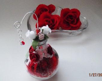 Valentine's Day Rose in a glass cognac bottle WimsicalGlassography Nickole Schmidt Butterflies Hearts Roses Lampwork Glass Keepsake