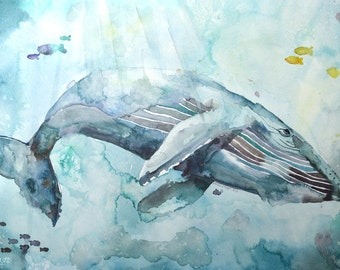 Whale Watercolor - Painting of a Whale - Art Print