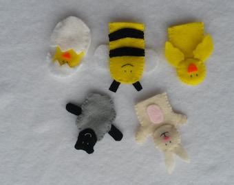 Easter and Spring Felt Finger Puppets- set of Five