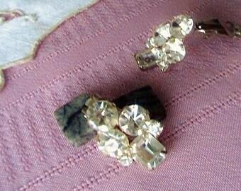 Vintage Rhinestone Earrings Square Rhinestone Earrings  Clip on Earrings  Rhinestone Jewelry Vintage