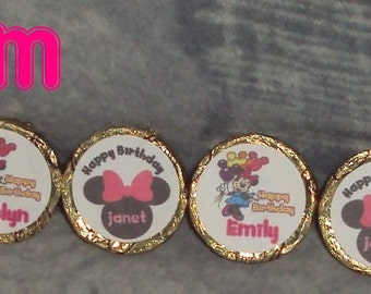 96 Custom Made Minnie Mouse Birthday kiss candy/mini bubbles labels@* Peel & Stick