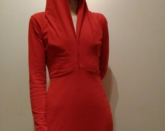 Tall Hooded, Long-Sleeved Dress with Adjustable Neckline