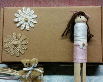 Handmade clothespin doll.  Doll comes inbox with a teddy bear and special message to your loved one!
