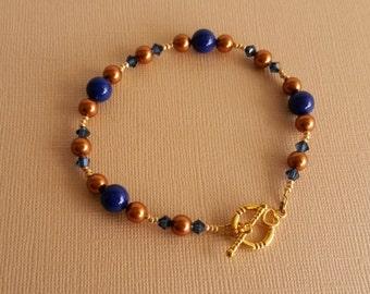Swarovski Crystal Dark Lapis and Copper Pearl Bracelet