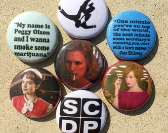 Mad Men Women, Peggy, Joan, Betty  Button Set