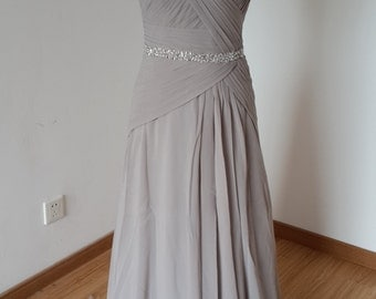 2015 Sweetheart Light Grey Chiffon Long Bridesmaid Dress with Beaded Waistline