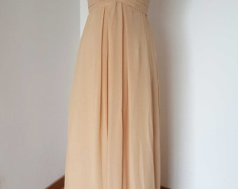 2015 Lace-up Sweetheart Champagne Chiffon Long Bridesmaid Dress