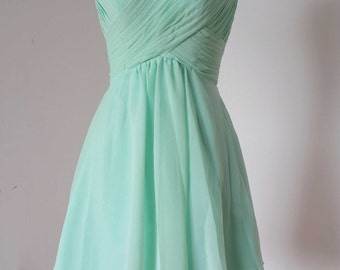 One-shoulder Sweetheart Mint Chiffon Short Bridesmaid Dress