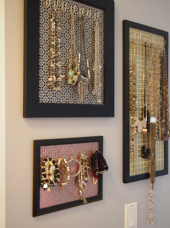 custom jewelry organizer framed jewelry wall organizer