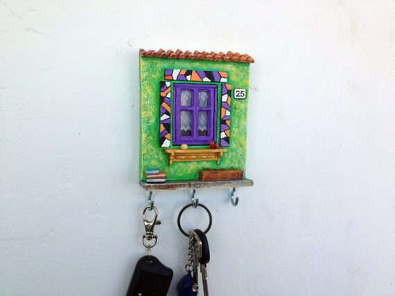 Key Holder Wall Miniature Ceramic Pottery House Purple Lilac
