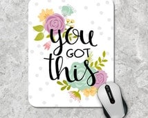Floral Mousepad, Quote Mouse Pad, Watercolor Mouse Mat, Custom Mousepad, Wooden Mouse Pad, Inspirational Quote Mousepad,  Motivational Quote