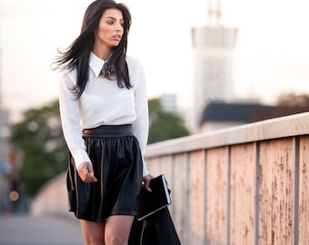 Megz Pleated PU Leather Skirt AW14 15/27