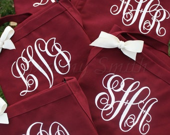 """Bridal party apron set of 5 custom embroidered monogrammed 24""""L x 28""""W bib apron w/ 3 pockets. Bridesmaids gifts! Ask about flower girl size"""