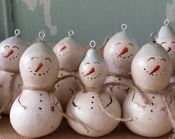 One Hand-painted Snowman Gourd Ornament