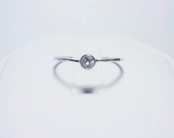 Moissanite in Sterling Silver Bezel Setting with Sterling Silver Band