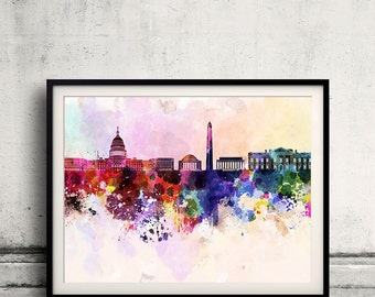 Washington DC skyline in watercolor background 8x10 in. to 12x16 in. Poster Digital Wall art Illustration Print Art Decorative  - SKU 0008