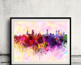 Manama skyline in watercolor background 8x10 in. to 12x16 in. Poster Digital Wall art Illustration Print Art Decorative  - SKU 0017