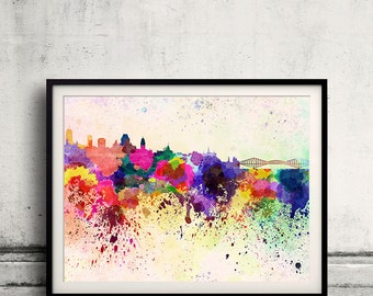 Quebec skyline in watercolor background 8x10 in to 12x16 Poster Digital Wall art Illustration Print Art Decorative  - SKU 0063