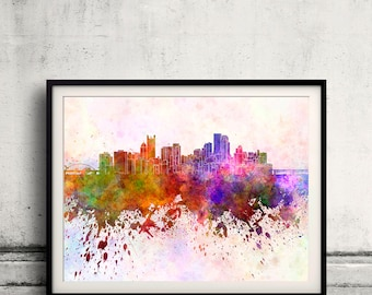 Pittsburgh skyline in watercolor background 8x10 in to 12x16 Poster Digital Wall art Illustration Print Art Decorative  - SKU 0159