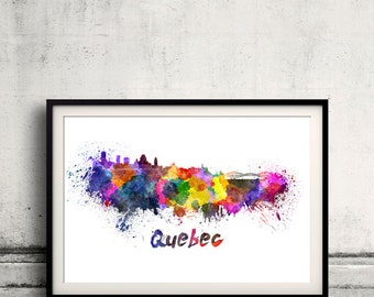 Quebec skyline in watercolor over white background with name of city 8x10 in. to 12x16 in. Poster Wall art Illustration Print  - SKU 0233