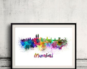 Mumbai skyline in watercolor over white background with name of city 8x10 in. to 12x16 in. Poster Wall art Illustration Print  - SKU 0364