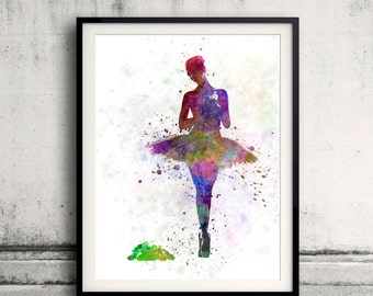 Woman ballerina ballet dancer dancing 8x10 in. to 12x16 in. Poster Digital Wall art Illustration Print Art Decorative  - SKU 0499