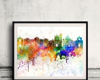 Prato skyline in watercolor background 8x10 in. to 12x16 in. Poster Digital Wall art Illustration Print Art Decorative - SKU 0742