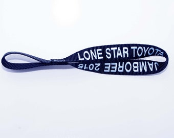 Personalized winch hook pull strap, lead, handle - (2 sided embroidery) - Your own wording
