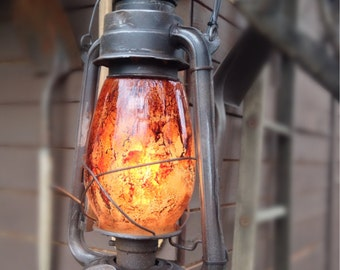 Vintage looking Industrial/Primitive-Style Electric Railroad Lanterns