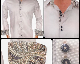Tan and Brown Men's Designer Dress Shirt - Made To Order in USA